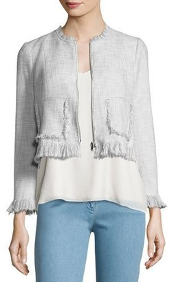 Rebecca Taylor Fringe-Trim Suiting Jacket, Gray Multicolor $475 thestylecure.com