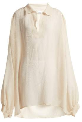 Raey Sheer Silk Seersucker Smock Blouse - Womens - Ivory