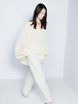 Raey Sheer Silk Seersucker Smock Blouse - Womens - Ivory