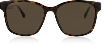 039fb63cb2 Gucci Rectangular-frame Tortoise Acetate Sunglasses w Web Temples