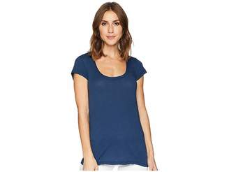 Allen Allen Basic Cap Sleeve Scoop Neck Tee Women's T Shirt