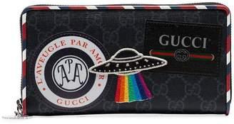 Gucci black Night Courier applique canvas wallet
