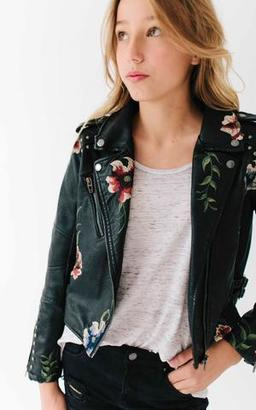 Ily Couture Girls Leather Embroidered Jacket