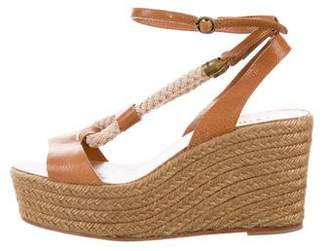 Chloé Leather Open-Toe Platform Wedges