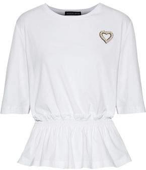 Markus Lupfer Mindi Shirred Appliquéd Cotton-Jersey T-Shirt