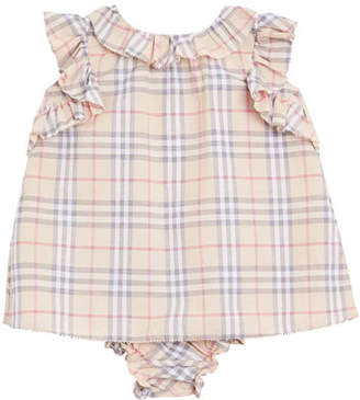 Burberry Carla Ruffle-Trim Check Dress w/ Bloomers, Size 3-18 Months