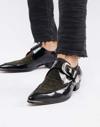 Jeffery West Adam Ant glitter monk shoes