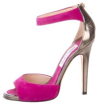 Jimmy Choo Suede High-Heel Sandals Purple Suede High-Heel Sandals