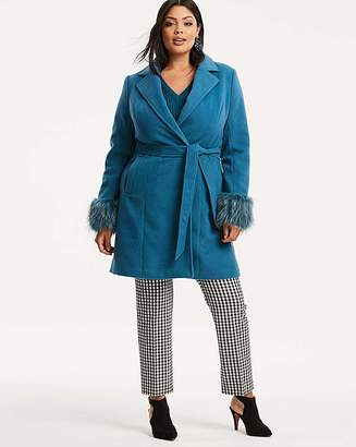 Fashion World Teal Coat with Faux Fur Trim Cuff