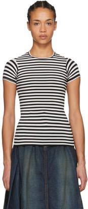 Junya Watanabe White and Black Shrunken Stripe T-Shirt