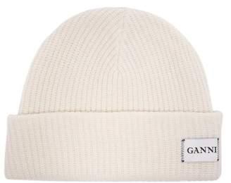 Ganni Hatley Ribbed Wool Blend Beanie Hat - Womens - White