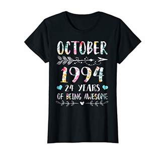 Womens October 1994 Shirt 24 Years of Being Awesome T Shirt Gifts