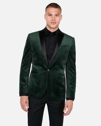 Express Slim Green Velvet Tuxedo Jacket