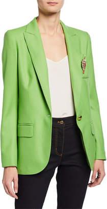 Escada Wool Blazer with Crest Brooch