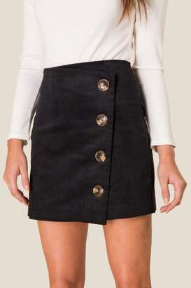 francesca's Elin Corduroy Button Front Skirt - Black