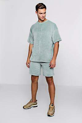 boohoo NEW Mens Velour Drop Shoulder T-Shirt & Short Set in Cotton