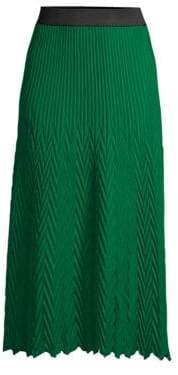 Maje Women's Herringbone Pleated Midi Skirt - Green - Size 1 (Small)