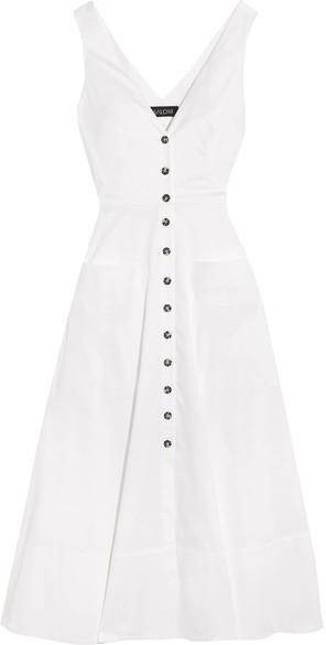 Saloni Zoe Cutout Cotton-blend Dress - White