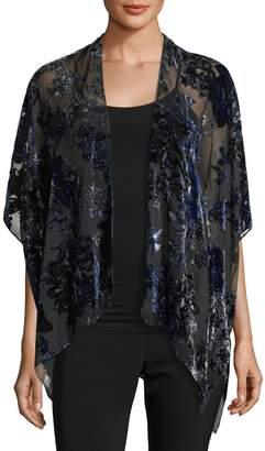 Neiman Marcus Floral Burnout Velvet Kimono, Blue