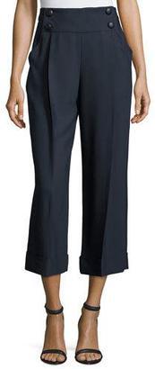 Armani Collezioni Sailor-Button Wide-Leg Cropped Pants, Midnight $695 thestylecure.com