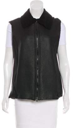 Calvin Klein Collection Leather Zip-Up Vest