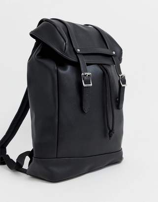 Asos Design DESIGN faux leather backpack in black with double straps and stud detail