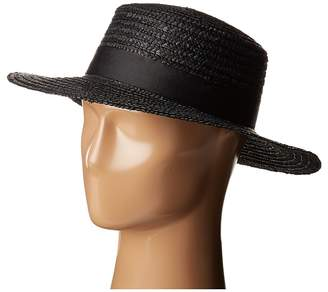LACK OF COLOR Spencer Noir Straw Boater Traditional Hats