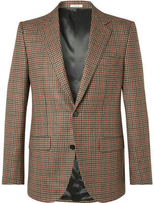 Husbands Camel Slim-Fit Checked Wool And Cashmere Blazer