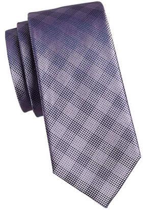 Calvin Klein Pixeled Plaid Silk Tie