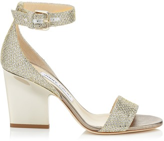 Jimmy Choo EDINA 85 Champagne Glitter Fabric Wedges