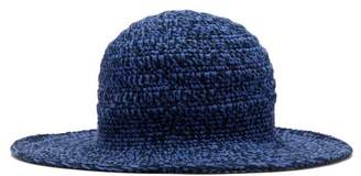 Etro Crocheted Cotton Hat - Womens - Blue