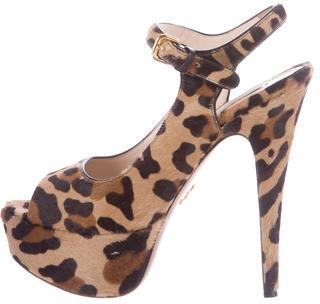 pradaPrada Ponyhair Platform Sandals