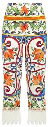 Dolce & Gabbana Cropped Lace-trimmed Printed Cotton-blend Jacquard Wide-leg Pants