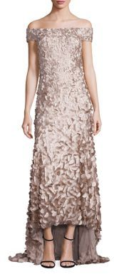 Theia Off-the-Shoulder High-Low Petal Gown $1,295 thestylecure.com