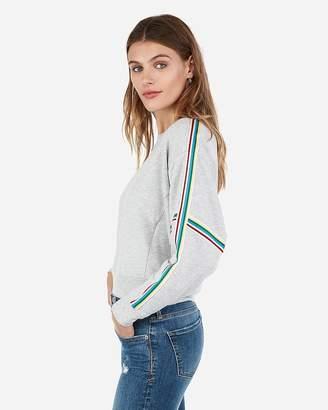 Express One Eleven Rainbow Varsity Stripe Sweatshirt