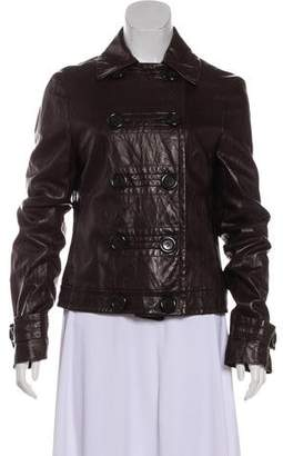 Michael Kors Long Sleeve Leather Peacoat