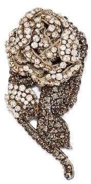 Rochas - Crystal Embellished Rose Brooch - Womens - Silver