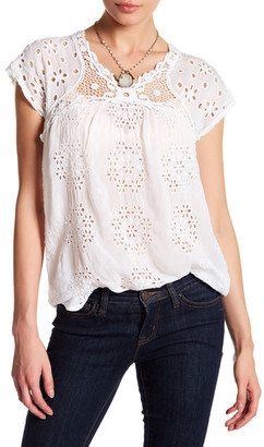 Johnny Was Short Sleeve Embroidered Blouse $235 thestylecure.com
