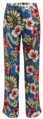 F.R.S For Restless Sleepers F.R.S – For Restless Sleepers Carite Hawaiian Print Satin Trousers - Womens - Blue Multi