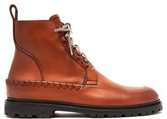Bottega Veneta Lace Up Leather Boots - Mens - Brown