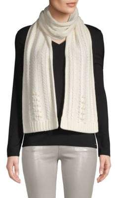 Badgley Mischka Pearl Embellished Fishtail Knit Scarf