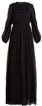 Giambattista Valli Ruffled And Smocked Silk Crepe De Chine Gown - Womens - Black