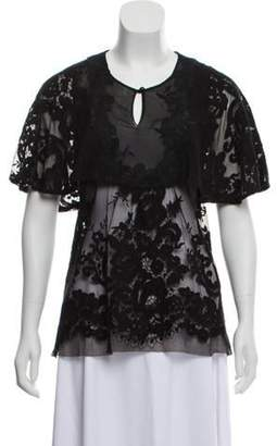 Anna Sui Embroidered Cape-Accented Top Black Embroidered Cape-Accented Top