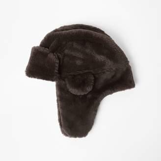 eb6639317245ef River Island Mens Boys Brown faux fur trapper hat