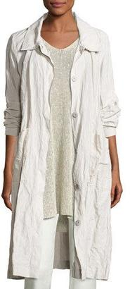Eileen Fisher Long Rumpled Topper Coat, Bone $478 thestylecure.com