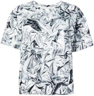 MM6 MAISON MARGIELA creased foil print T-shirt