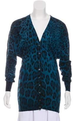 Dolce & Gabbana Printed Virgin Wool Cardigan Blue Printed Virgin Wool Cardigan