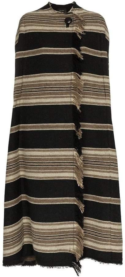 huan striped wool poncho coat