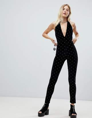 Jaded London studded velvet plunge halterneck catsuit