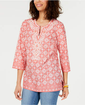 Charter Club Cotton Embellished Split-Neck Tunic